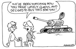 CARTOON OF SUGGESTION SENIOR DRIVES A TANK